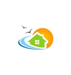 house beach ocean water seagul logo vector image vector image