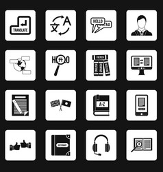 Learning foreign languages icons set squares vector