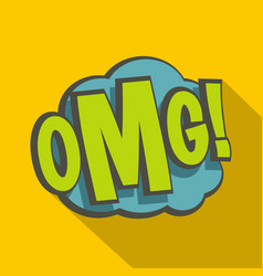 omg comic book explosion icon flat style vector image vector image