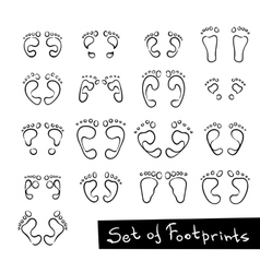 Set of footprint doodle icons human footstep vector