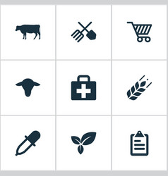 set of simple agricultural vector image vector image
