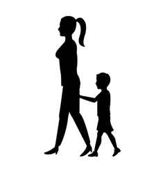 Silhouette woman and boy son walking vector