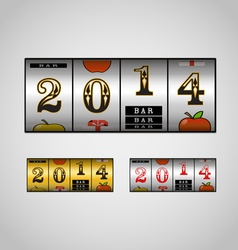 Slot maching with 2014 digits set vector image vector image