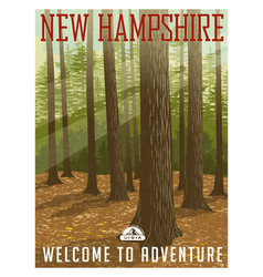 travel poster or sticker new hampshire forest vector image vector image