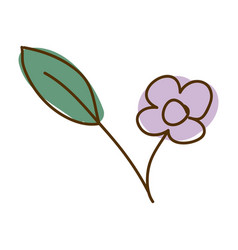 Watercolor hand drawn silhouette of purple flower vector
