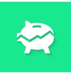 white broken piggy bank with long shadow vector image vector image