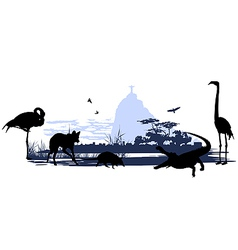 Wild animals and birds in brazil vector