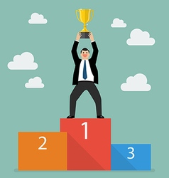 Winner businessman with winning throphy stand on a vector