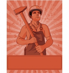 worker and a hammer vector image vector image