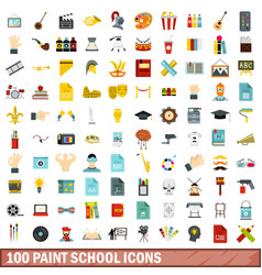 100 paint school icons set flat style vector