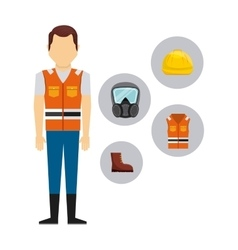 Safety industry equipment flat icons vector