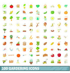 100 gardering icons set cartoon style vector