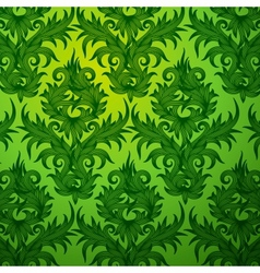 Damask green floral seamless pattern vector image