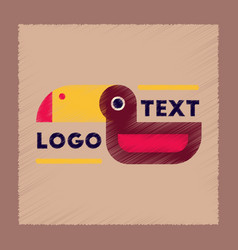 Flat shading style icon bird logo vector