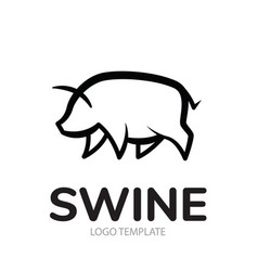 Linear stylized drawing of pig swine vector