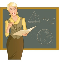 Teacher at blackboard vector