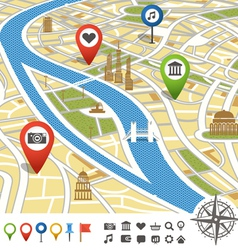 Abstract city map with places of interest vector
