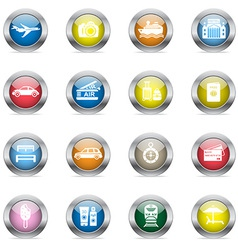 Travel icons in color glossy circles vector