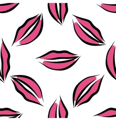 Lips with pink lipstick seamless pattern vector