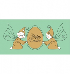 Easter egg with elves vector