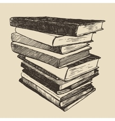 Pile old books vintage drawn sketch vector
