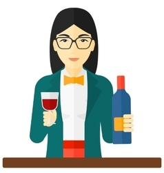Cheerful woman with bottle and glass vector