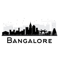 Bangalore City skyline black and white silhouette vector image