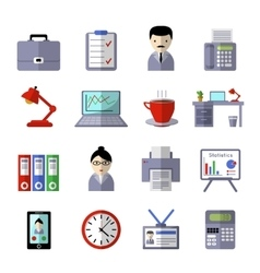 Office Colored Icon Set vector image