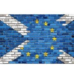 Brick wall european union and scotland flags vector