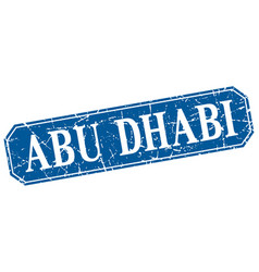 Abu dhabi blue square grunge retro style sign vector