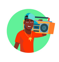 African rapper male fashionable hip hop vector