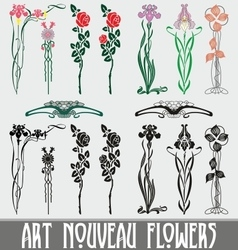 Art nouveau flowers vector