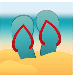 beach sandals icon vector image vector image