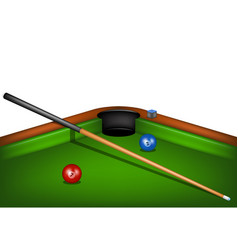 Billiard table with billiard cue chalk and balls vector