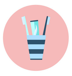blue flat toothpaste and two brushes in glass icon vector image