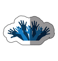 Blue hands up together icon vector