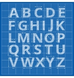 Blueprint alphabet drafting paper letters vector