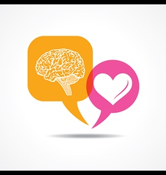 Brain and heart in message bubble vector