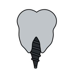 Color image cartoon dental implant icon vector
