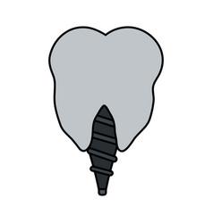 Color image cartoon dental implant icon vector