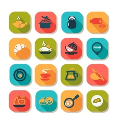 flat food icon set vector image vector image