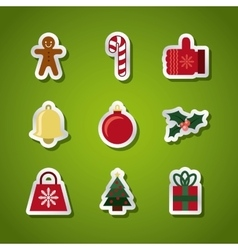 happy merry christmas set decorative icons vector image