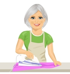 Happy senior woman ironing clothes housework vector