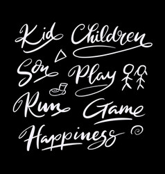 Kid and children hand written typography vector