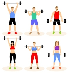 Men and women with barbell vector