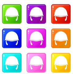 Military helmet icons 9 set vector