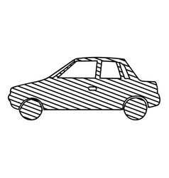 Monochrome silhouette of automobile to striped vector