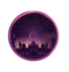 mosque in purple color sky night vector image vector image