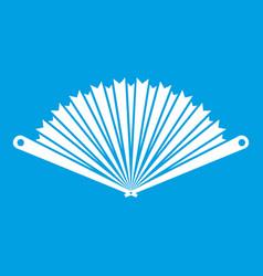 Opened oriental fan icon white vector