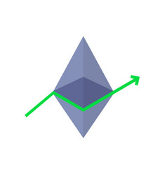 Profit surge with ethereum value growth vector
